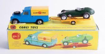 Corgi Toys, rare Gift Set no. 17 Ecurie Corgi Land Rover BRM Racing Car and Trailer, (dark green