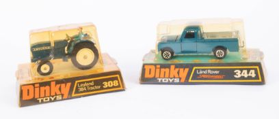 Dinky Toys, Leyland Tractor 308, Land Rover 344, boxed, (2).