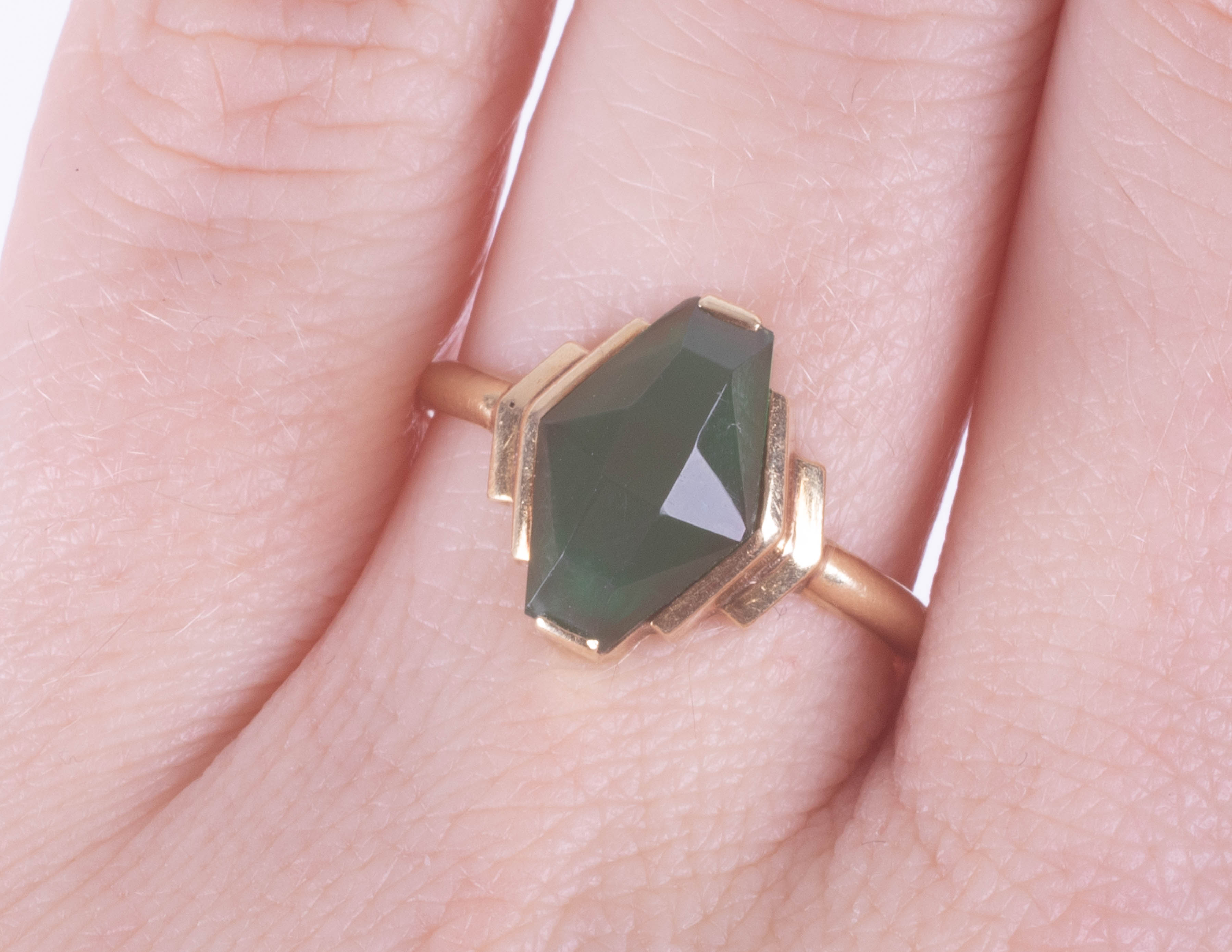 A 14ct green gemstone set ring, maker's mark A.P, size N. - Image 2 of 2