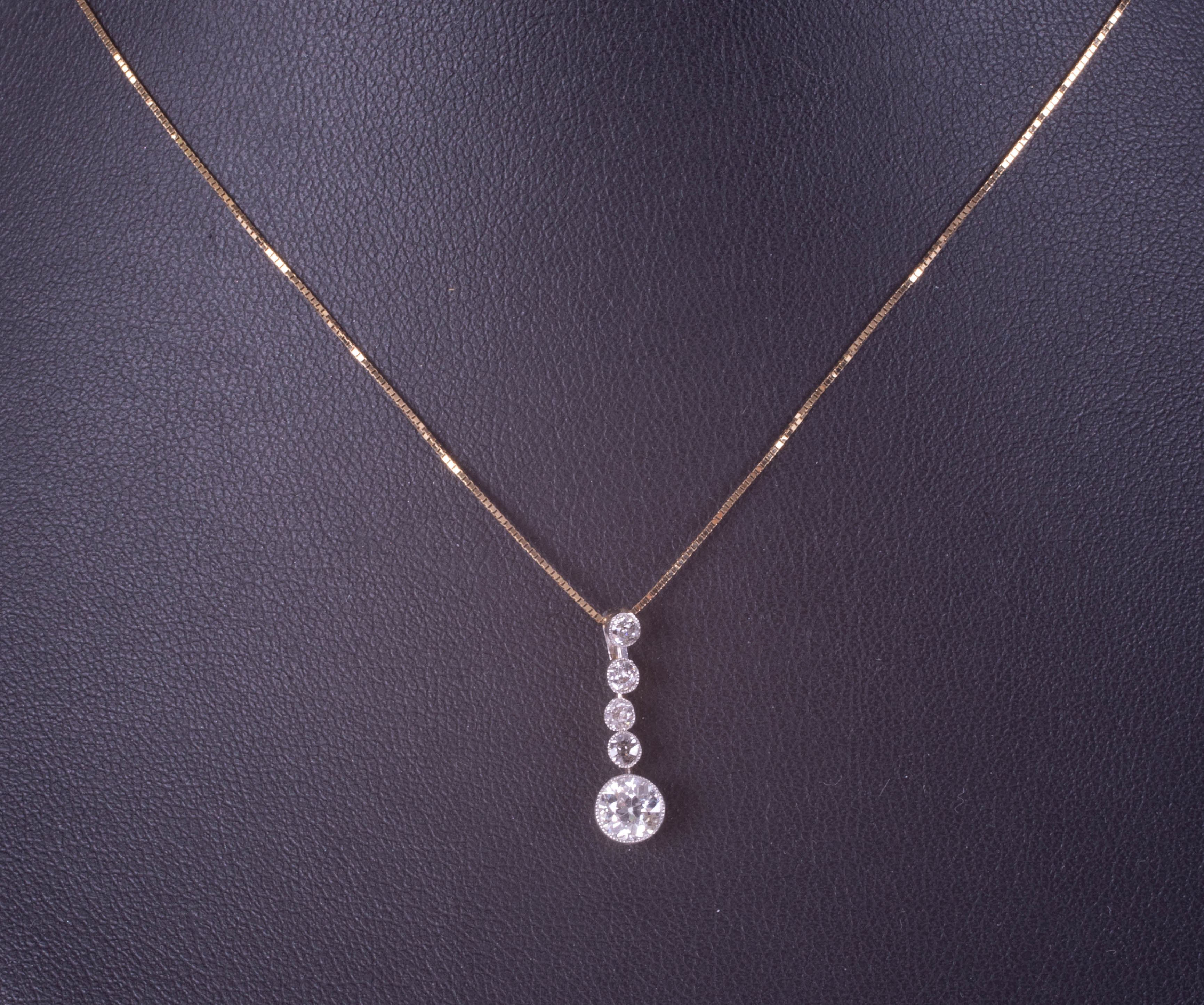 A five stone diamond pendant necklace, early 20th century, on fine chain. - Image 2 of 2