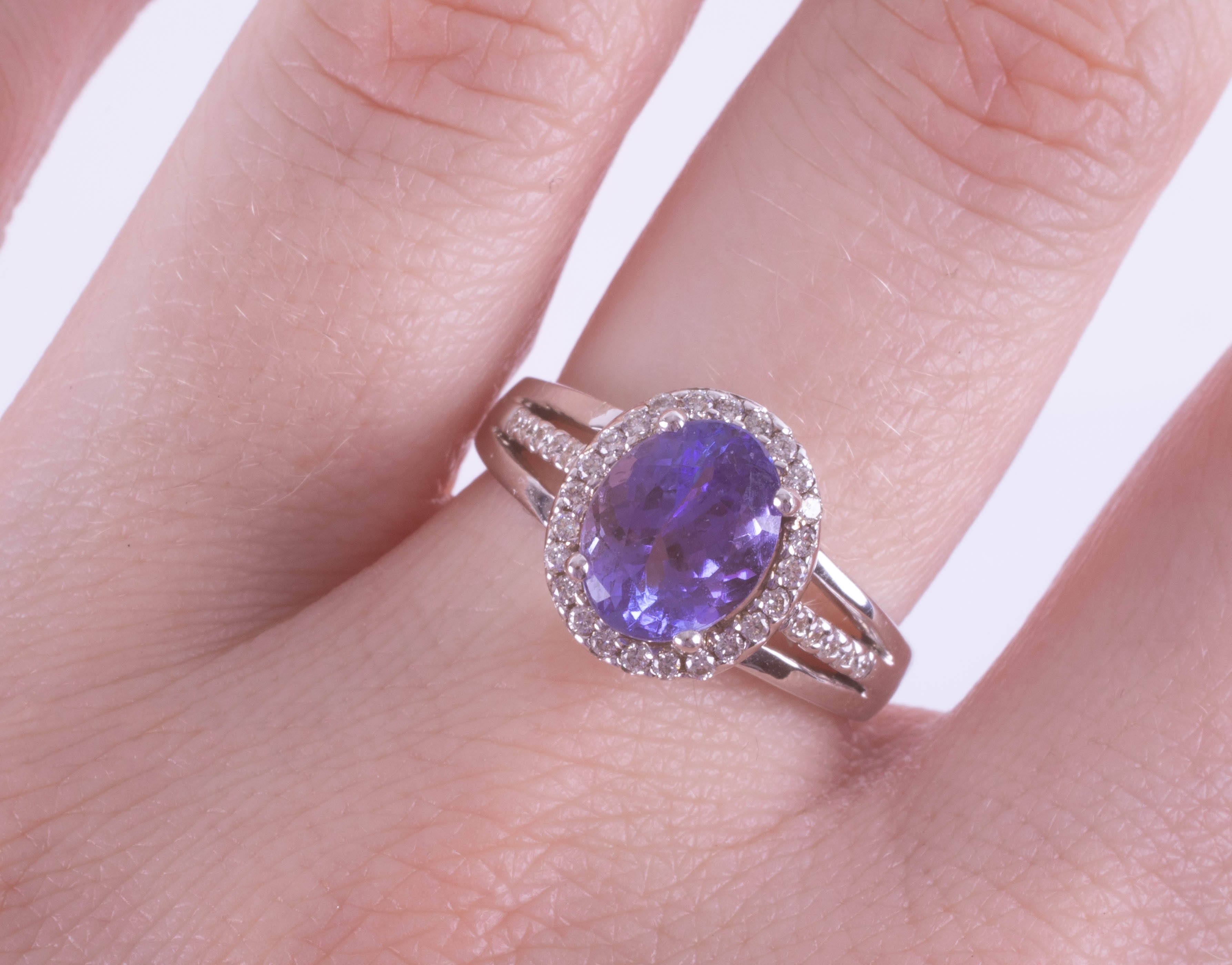 An 18ct white gold diamond and Tanzanite ring approx. 2.75ct, ring size N. - Image 2 of 2