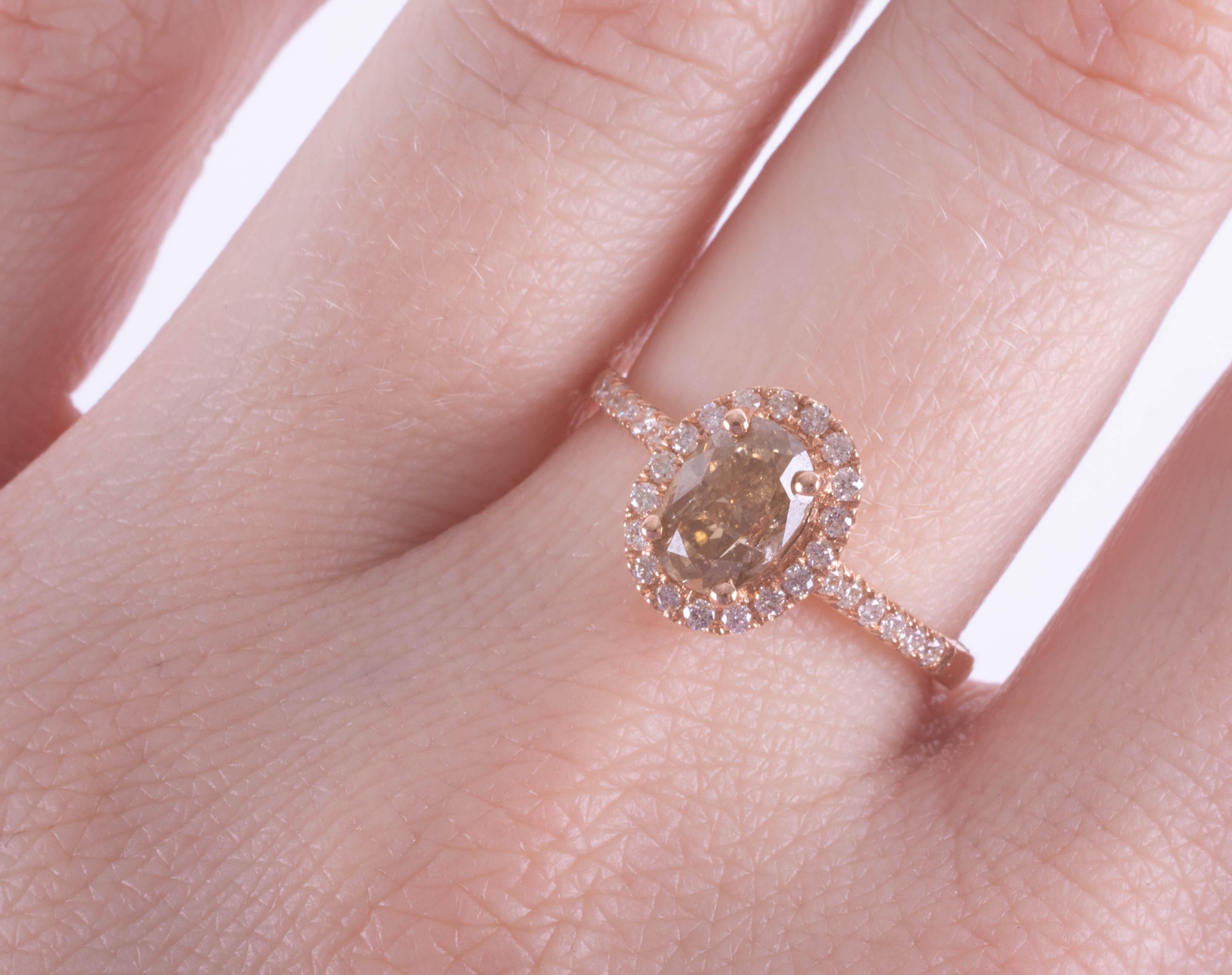 An 18ct rose gold champagne diamond halo set ring, approx. 1.10ct, ring size O. - Image 2 of 2