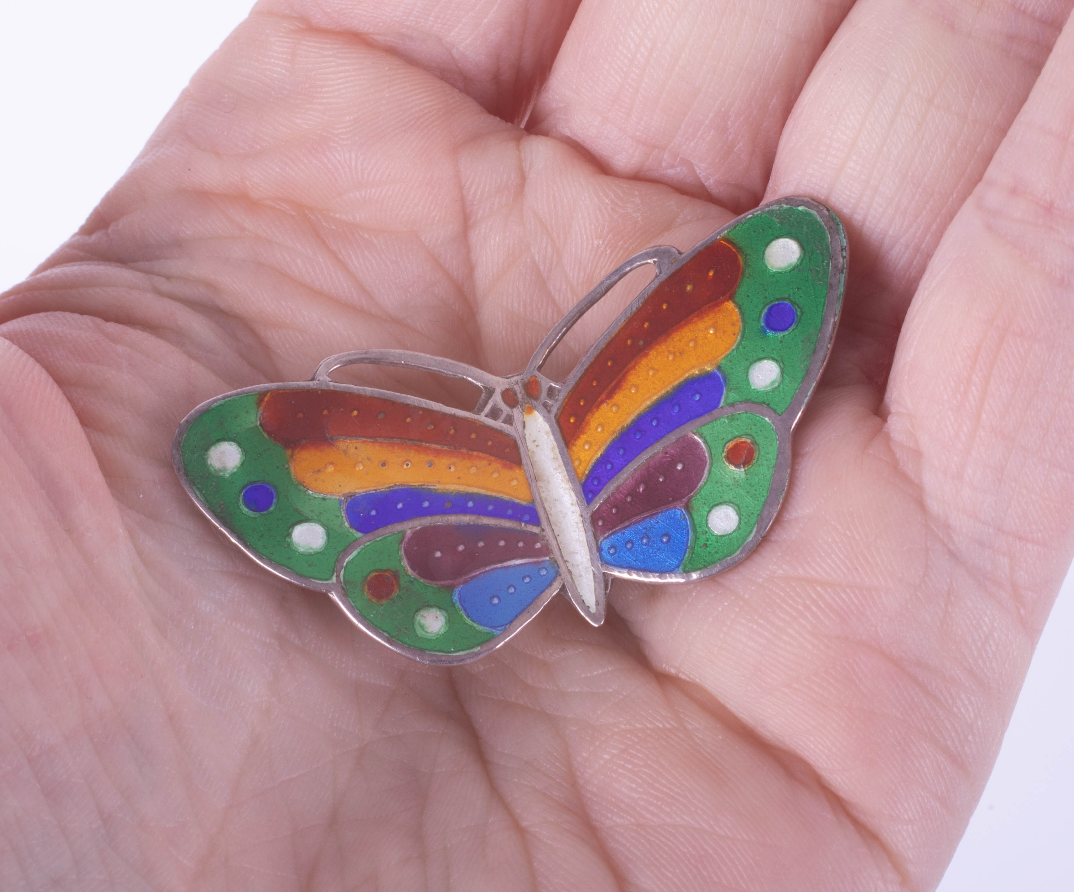 A silver and enamel butterfly brooch, span 44mm. - Image 2 of 2