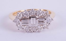An 18ct yellow gold diamond 'boat' cluster ring, diamond weight approx 0.75ct, size M.