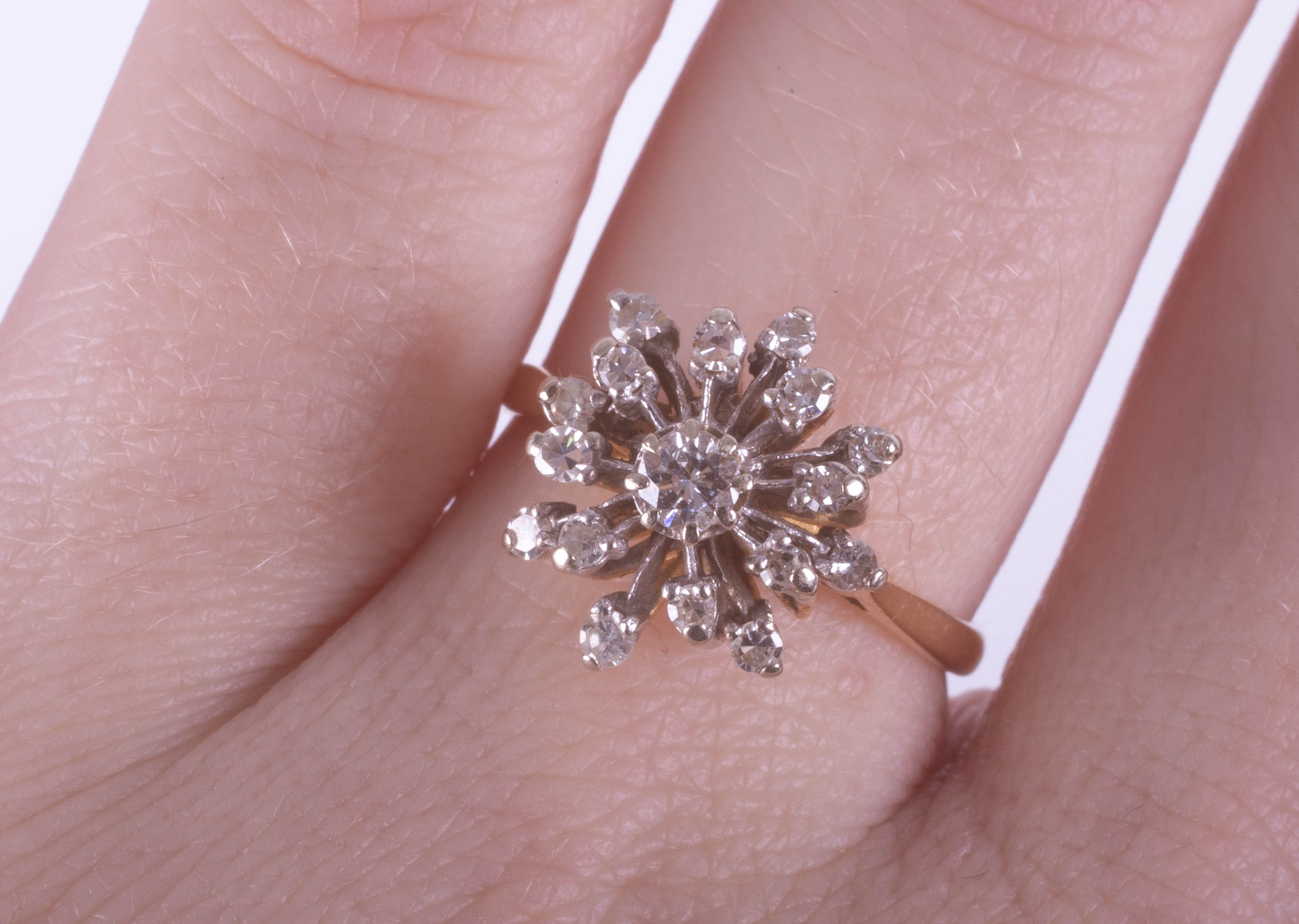 An 18ct diamond cluster ring set in yellow gold, size N. - Image 2 of 3