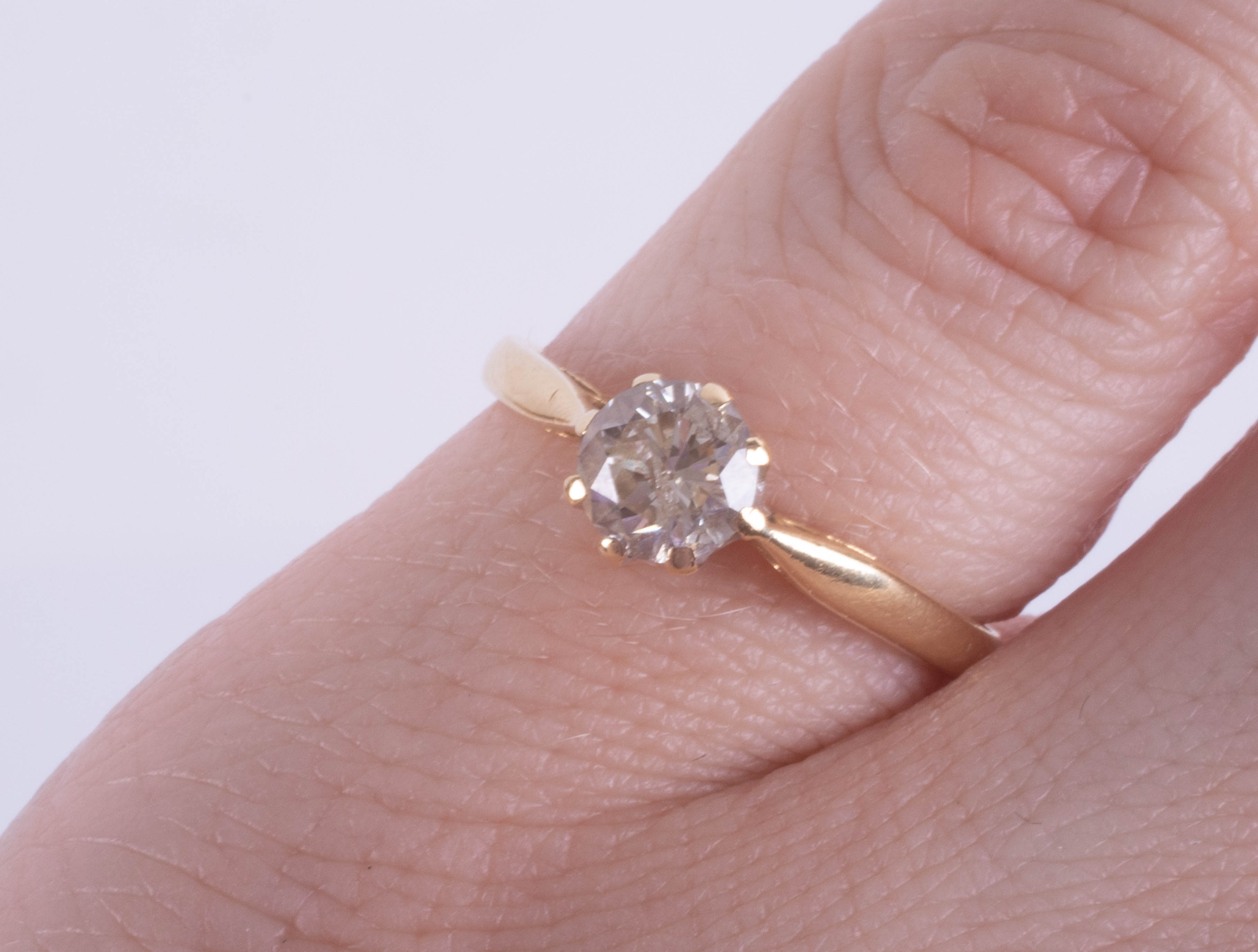 An 18ct yellow gold diamond solitaire ring approx. 0.50ct, ring size J. - Image 2 of 2
