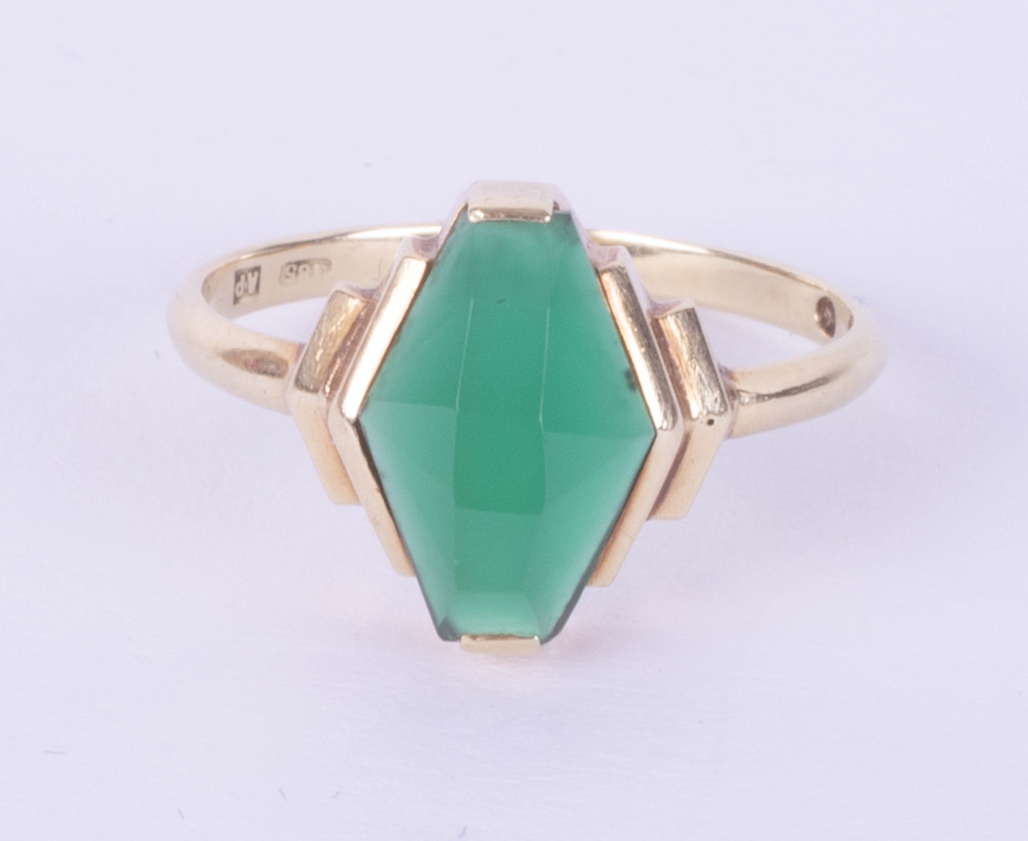 A 14ct green gemstone set ring, maker's mark A.P, size N.