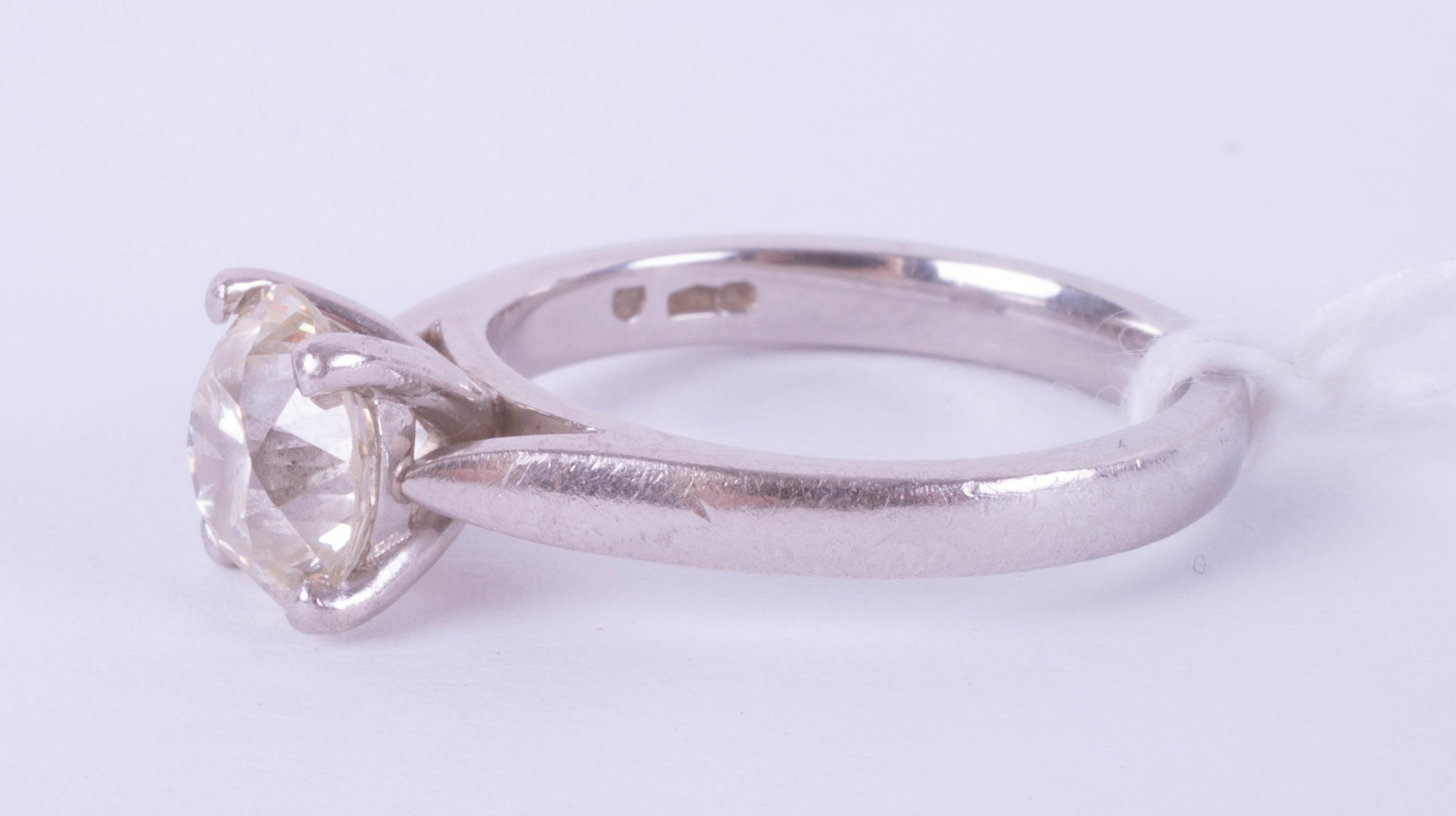 A diamond solitaire ring, approximately 1.90ct, set in platinum, size J, with copy of 2015 insurance - Image 5 of 9
