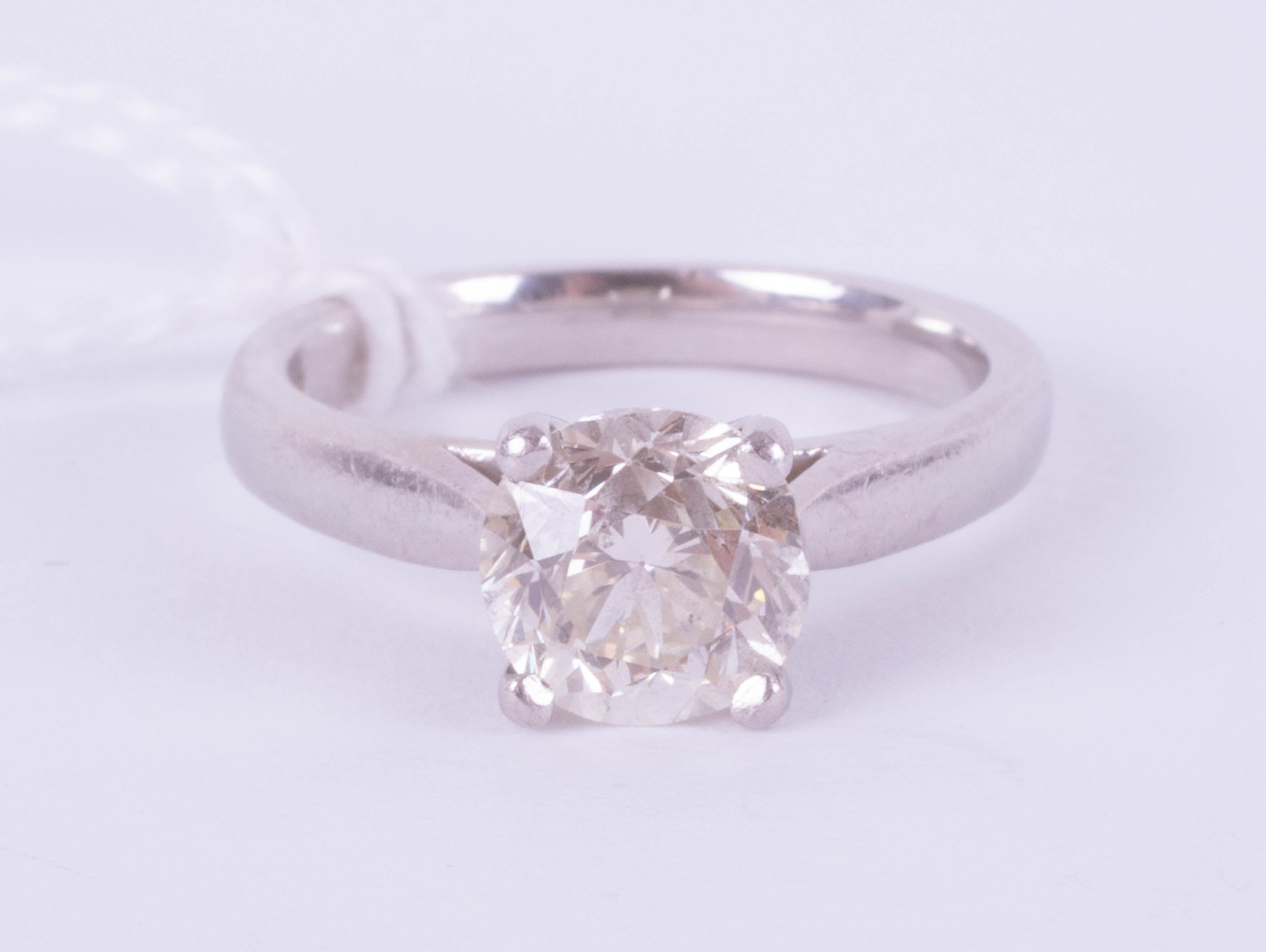 A diamond solitaire ring, approximately 1.90ct, set in platinum, size J, with copy of 2015 insurance - Image 7 of 9
