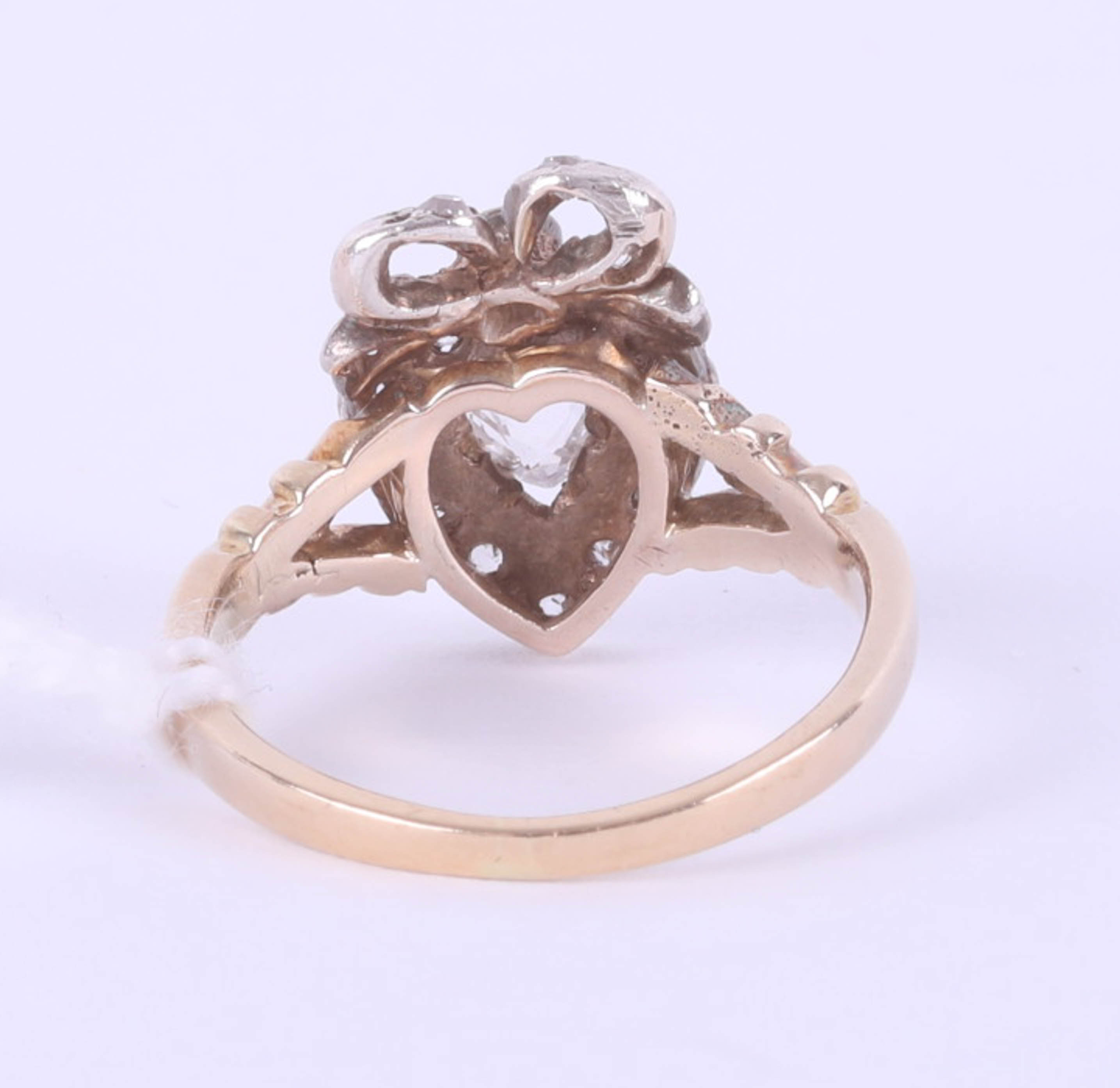 A Victorian diamond set heart ring, size J, boxed. - Image 3 of 6
