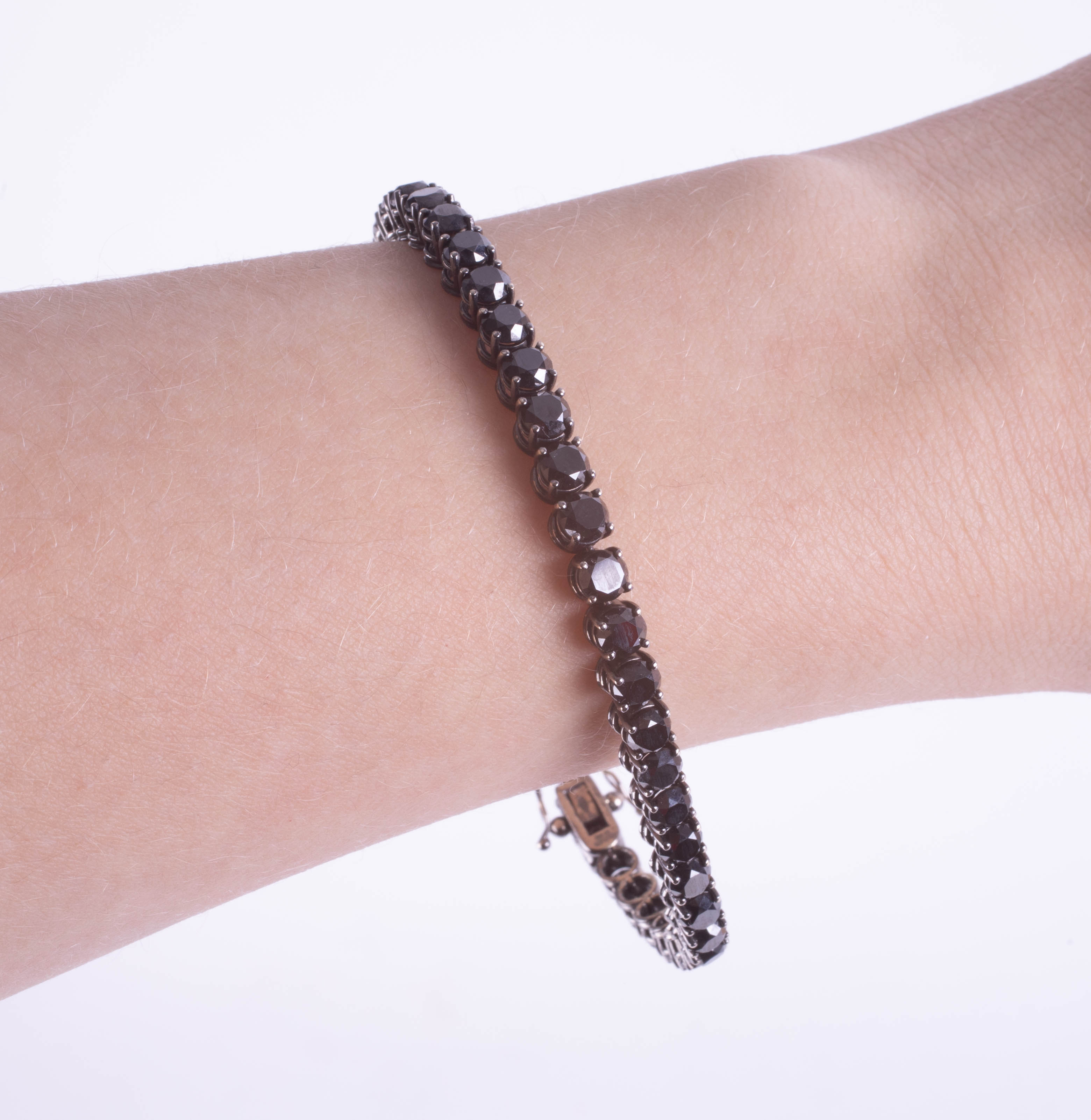 An 18ct white gold black diamond line bracelet, boxed, diamond weight approx 14.38ct. - Image 3 of 3