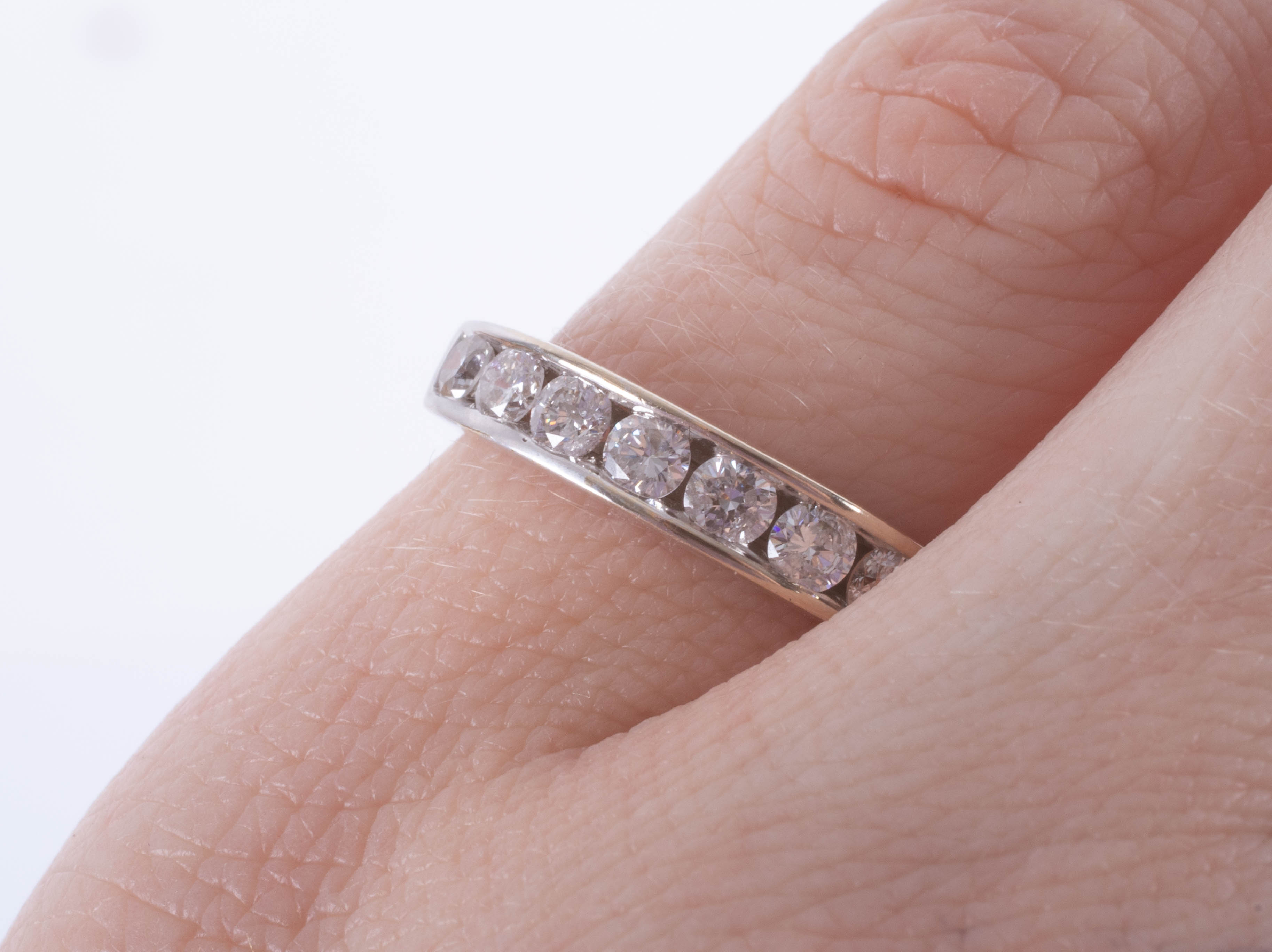 An 18ct white gold half band eternity ring, approx. 0.50ct, ring size J. - Image 2 of 2
