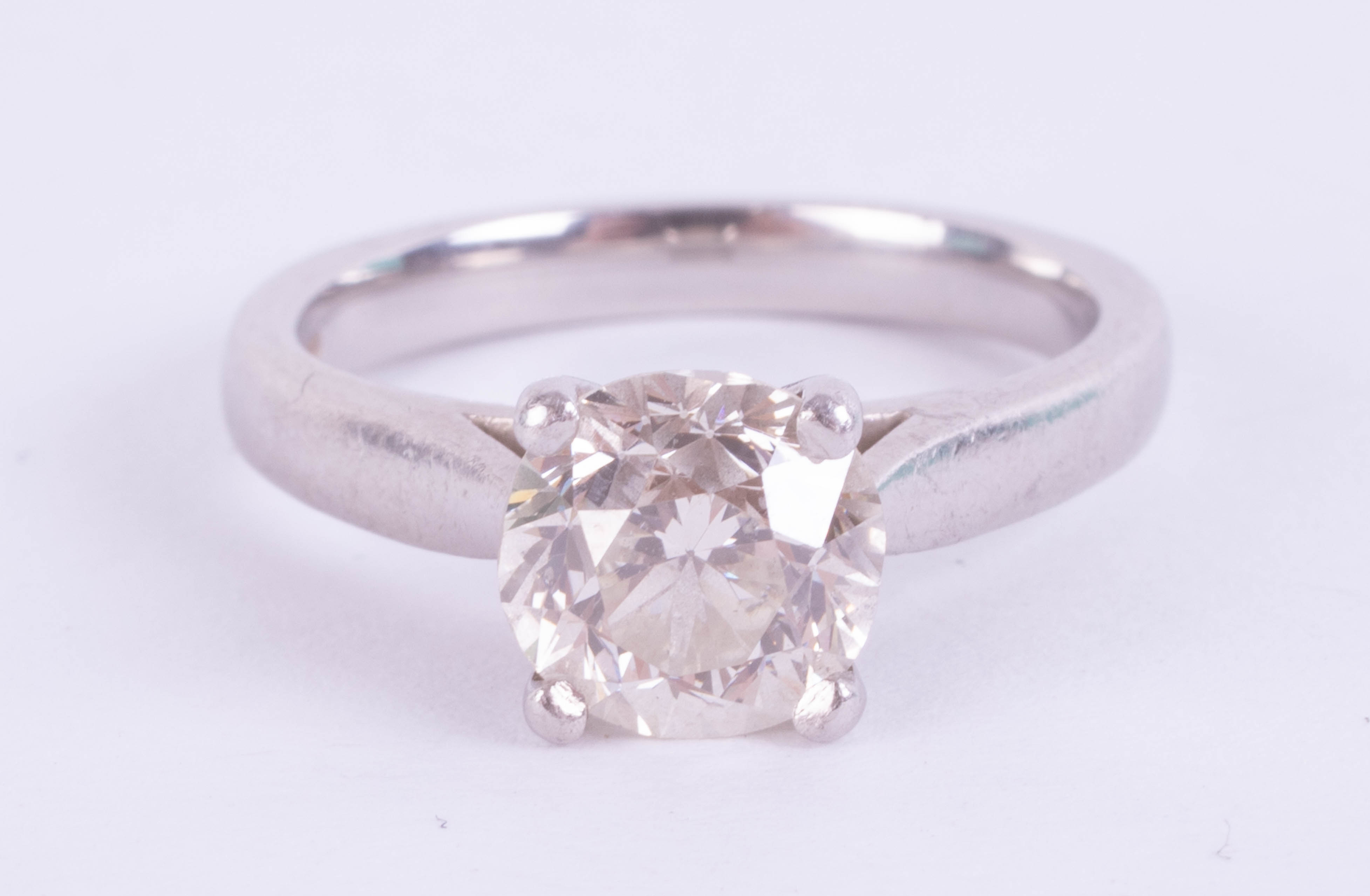 A diamond solitaire ring, approximately 1.90ct, set in platinum, size J, with copy of 2015 insurance