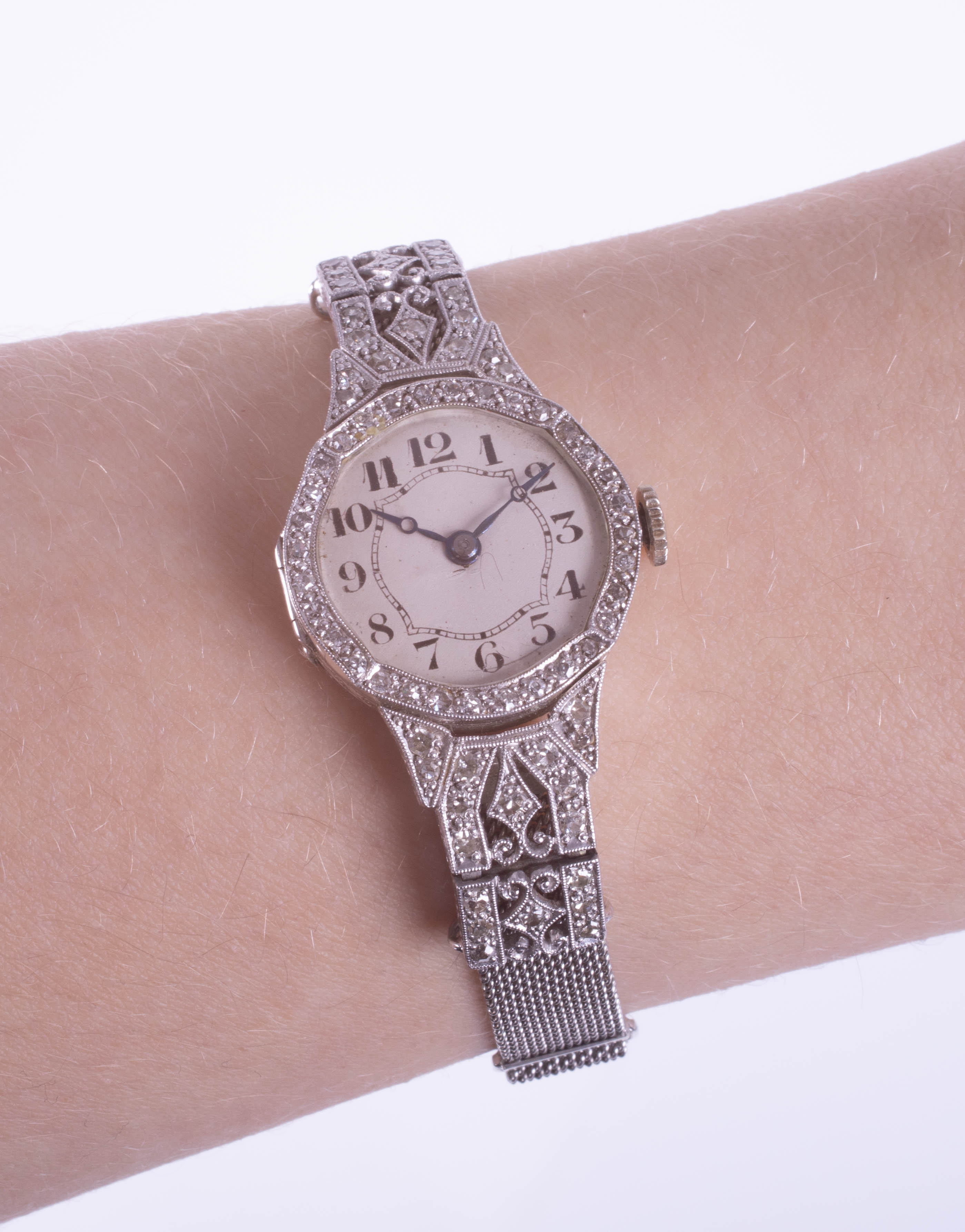 An 18ct diamond set cocktail watch with mesh bracelet, approximately 23.76g, the back case - Image 2 of 2