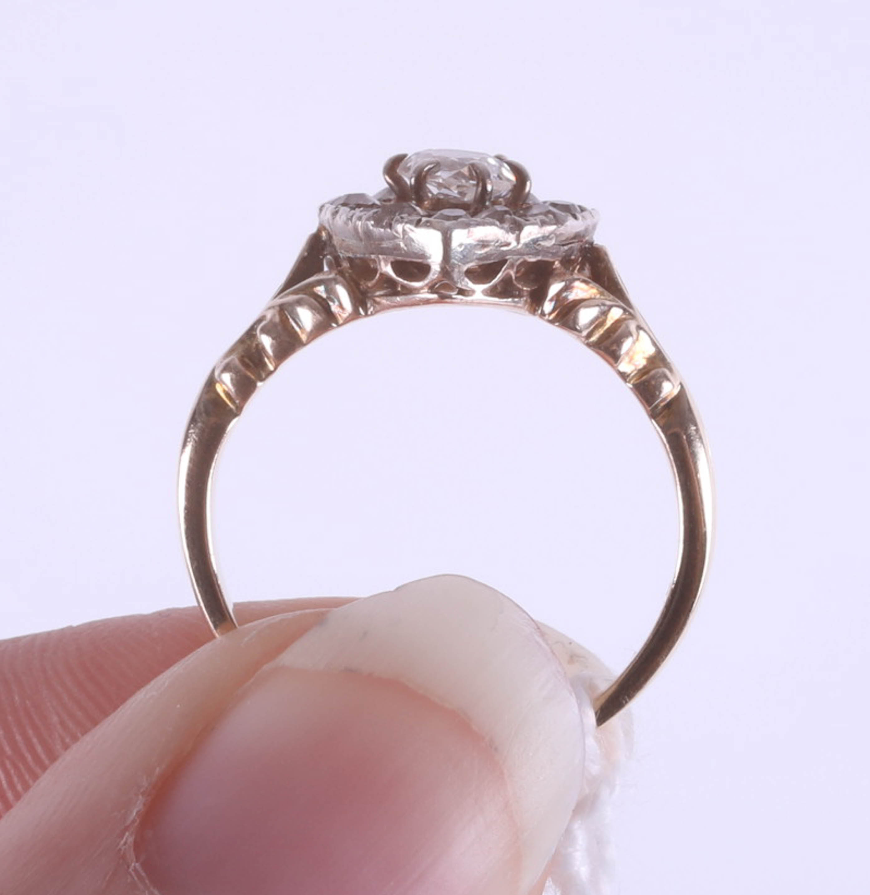 A Victorian diamond set heart ring, size J, boxed. - Image 6 of 6