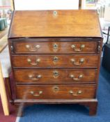 An 18th century mahogany bureau, the fall with a fitted interior over four graduated long drawers