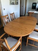 Ercol, a well kept modern dining room suite, comprising six chairs, including two carvers with