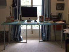 Habitat, a modern glass topped and metal framed desk, 180cm x 80cm.