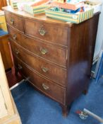 A 19th century mahogany chest, fitted with two short and three long drawers on bracket feet, bow