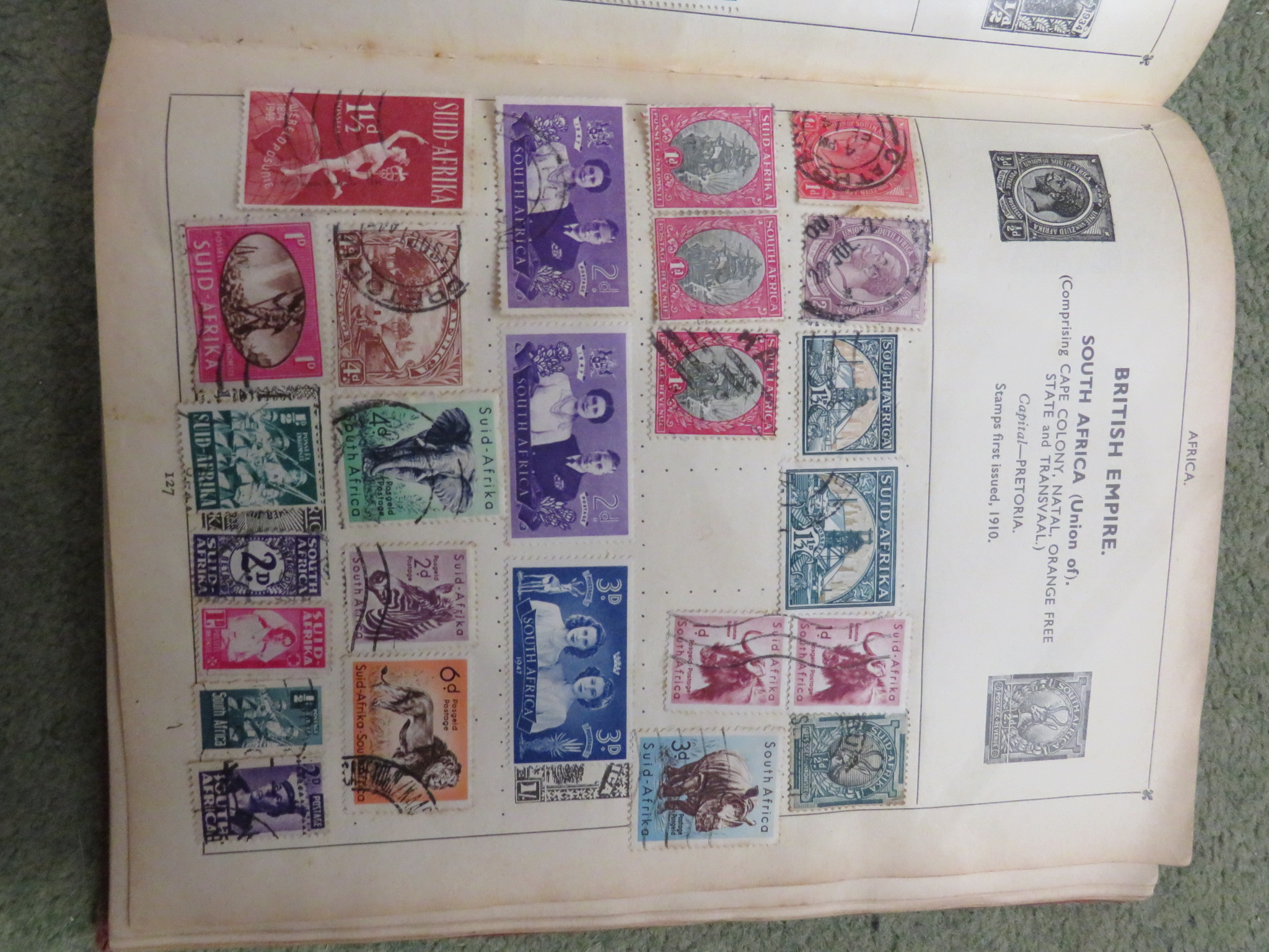BLUE ZENITH STAMP ALBUM AND RED IMPROVED POSTAGE STAMP ALBUM WITH CONTENTS, TOGETHER WITH COVERS AND - Image 4 of 5