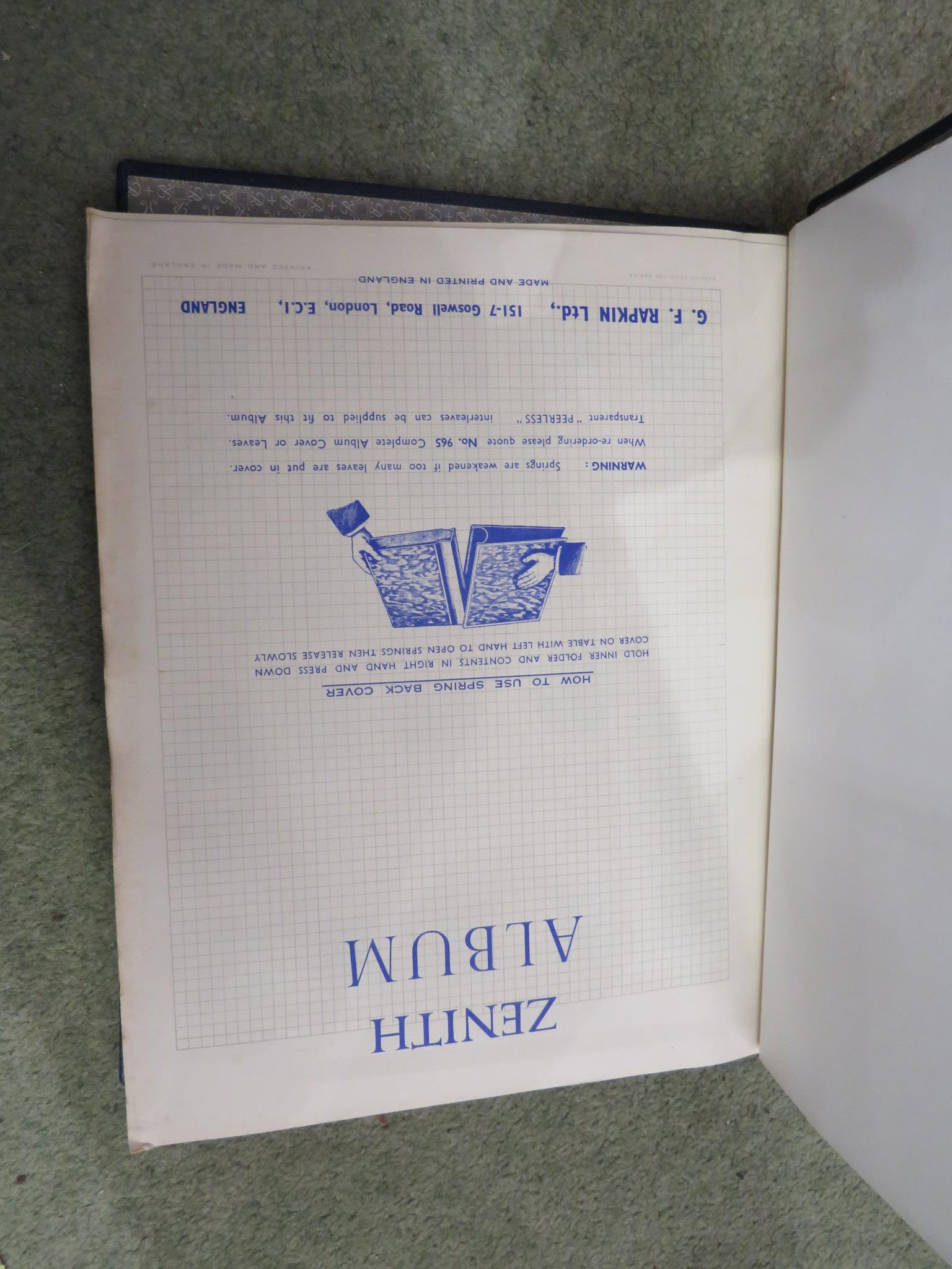 BLUE ZENITH STAMP ALBUM AND RED IMPROVED POSTAGE STAMP ALBUM WITH CONTENTS, TOGETHER WITH COVERS AND - Image 2 of 5