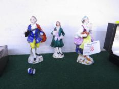 THREE CONTINENTAL MINIATURE PORCELAIN FIGURES - A LADY AND TWO GENTLEMEN, THE TALLEST 7.8CM