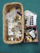 BASKET OF OLD BUTTONS INCLUDING DIOR, CC, GUCCI, RENA LANG ETC