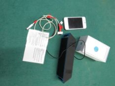 IPHONE 4, BOXED, A/F, NO CHARGER, WITH A PORTABLE SPEAKER UNIT