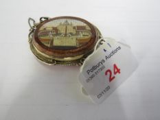 ITALIAN MICRO MOSAIC BROOCH DEPICTING ST PETER'S SQUARE, OVAL, AVENTURINE BORDER, IN A PINCHBECK