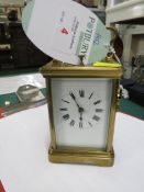FRENCH BRASS REPEATING CARRIAGE CLOCK, ROMAN CHAPTER, WITH KEY