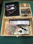 SMALL PINE BOX WITH CONTENTS OF ASSORTED COSTUME JEWELLERY, INCLUDING 'PEARLS OF THE ORIENT'