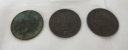 THREE COINS - 1859 CANADA ONE CENT, 1854 NAPOLEON CINQ CENTIMES, AND 1915 GEORGE V HALFPENNY