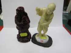 CHINESE STYLE RESIN FIGURE OF MAN WITH CHICKEN, AND DARK RED RESIN FIGURE OF ROBED WISE MAN WITH
