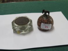POLISHED GRANITE PAPERWEIGHT MOUNTED WITH AN EAGLE, AND A FACETED GLASS PAPER WEIGHT SET WITH AN