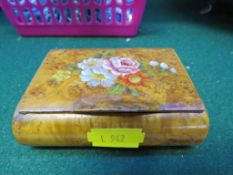 BURR WALNUT BOX WITH HINGED LID PAINTED WITH FLOWERS