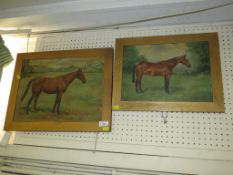 FRAMED OIL ON CANVAS OF HORSE SIGNED AND DATED 1932 LOWER RIGHT, TOGETHER WITH ONE OTHER CANVAS OF