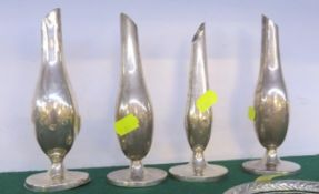 FOUR WHITE METAL STEM VASES WITH FLOWER SHOW PRESENTATION ENGRAVINGS (OF WHICH THREE ARE STAMPED