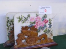 PAIR OF MINIATURE CHINESE STYLE TABLE SCREENS, THE STONE PANELS PAINTED WITH FLOWERS, THE WOODEN