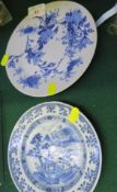 TWO CHINESE PORCELAIN BLUE AND WHITE DECORATED PLATES