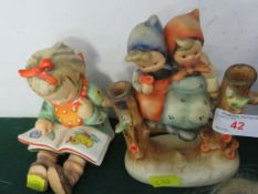 TWO GOEBEL / HUMMEL FIGURES - BOOK WORM AND CHILDREN ON FENCE