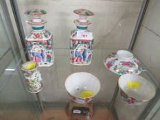 SIX ITEMS OF FAR EASTERN CERAMICS INCLUDING PAIR OF STOPPERRED BOTTLES AND A PAIR OF TEA BOWLS