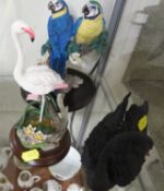 THREE COMPOSITE FIGURINES OF BIRDS INCLUDING COALPORT BLUE AND YELLOW MACAWS