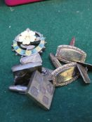 A PAIR OF SILVER GILT CUFFLINKS, A PAIR OF SQUARE SILVER CUFFLINKS WITH LARGE BRITISH HALLMARKS, A