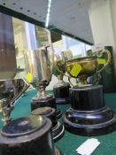 THREE SMALL SILVER PLATED TROPHIES AND TWO OTHER SMALL TROPHIES WITH INDIAN STAMPED MARKS , ALL WITH