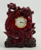 Royal Doulton Prestige Flambe Zibo Dragon Clock BA37: Limited edition, height 22cm.