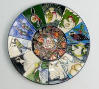 Moorcroft Pottery Twelve Days of Christmas Plate: Dated 2013, diameter 25cm. Boxed.