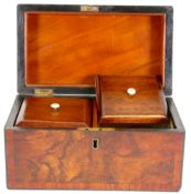 Burr Walnut tea caddy 19th century: Good used condition, replacement lids, original hinges,