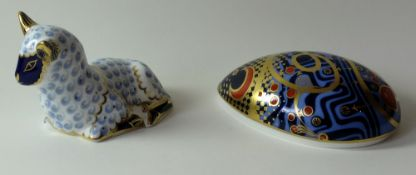 Two x Royal Crown Derby paperweights COMPUTER MOUSE & LAMB: Gold stoppers, NO certificate,