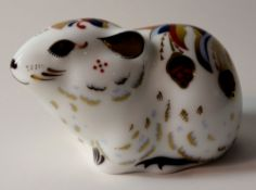 Royal Crown Derby paperweight Bank Vole members pack: Gold stopper, first quality, original box.