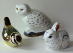 Three x Royal Crown Derby paperweights SNOWY OWL (Guild), WREN & BUNNY: Gold stoppers,